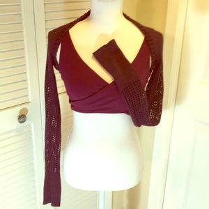 Studio Capezio Mesh Back Bra Knit & Shrug Wine Red
